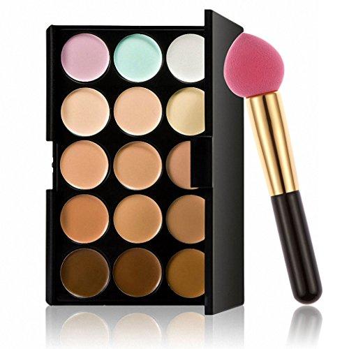 SM SunniMix Palette De Maquillage Crème Contour Visage Camouflage Contour Professionnel 15 Couleurs Avec Pinceau De Maquillage (15 Couleurs) - houppe à poudre goutte d'eau