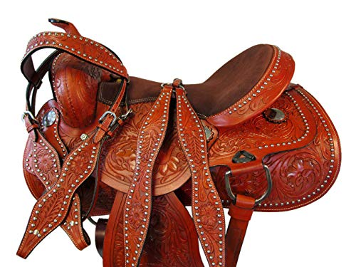Premium Tooled 17 16 15 Western Saddle Pleasure Trail Horse Leather Barrel Racing (17)