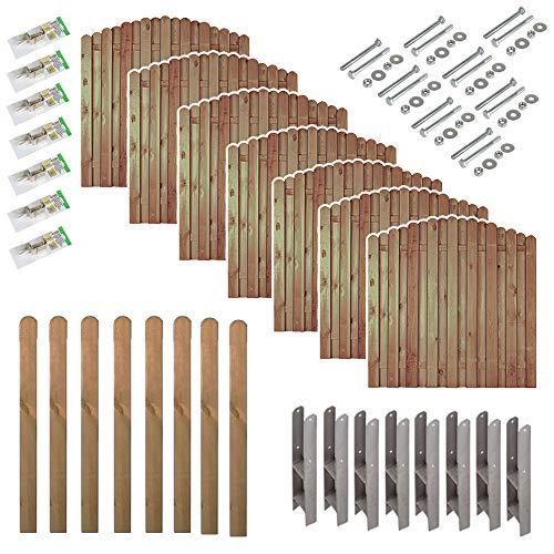 """Sichtschutz-Zaun \""""Bochum\"""" Komplett-Set mit 7 Zäunen (180 x 180 auf 160 cm) // ca. 13,3 lfd. Meter // aus Kiefer/Fichte Holz // + 8 Vierkant-Pfosten (9 x 9 x 190 cm) mit Rundkopf + Montagematerial"""