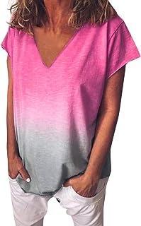 OULSEN Women Summer T-shirt Short Sleeve V Neck Gradient Color Loose Top Fashion Casual Blouse Women Plus Size