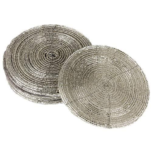 MACOSA WV47215 Glasuntersetzer 6 Stück rund mit Perlen Silber 11 cm Untersetzer Tischuntersetzer Tisch-Deko für Gläser, Tassen, Vasen Tischaccessoire