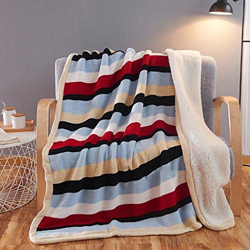 Max Home Weiche Decken Baumwolle Farbe Bars individuelle Schal Decke Office Nap Decke Klimaanlage Decke für Stuhl Schlafsofa (Farbe : Red and blue stripes, größe : 150*200cm)