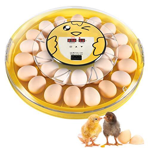 Oudannei Incubadora de 30 huevos , grande transparente con control de temperatura, ventilador circulado, rotación automática de huevos y exhibición