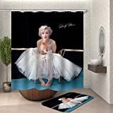 XQWZM Marilyn Monroe Duschvorhang ✚ 60X40Cm Mat Set, Waterproofbathroom Curtains, Für Bad Dekoration Mit 12 Haken