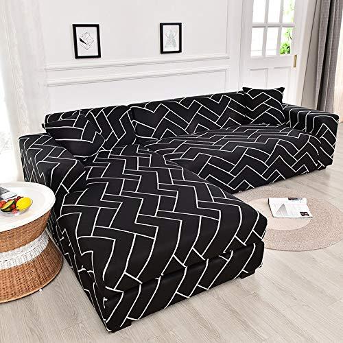 ASCV Funda de sofá elástica geométrica para Sala de Estar Funda de sofá de Esquina Funda de sofá en Forma de L Funda de sofá A8 4 plazas
