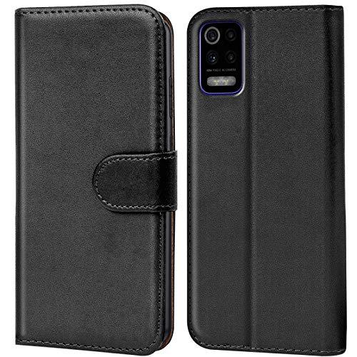 Verco Handyhülle für LG K52 Hülle, Bookcase Tasche Flipcover für LG K52 Hülle [Kartenfächer/Aufstellfunktion], Schwarz