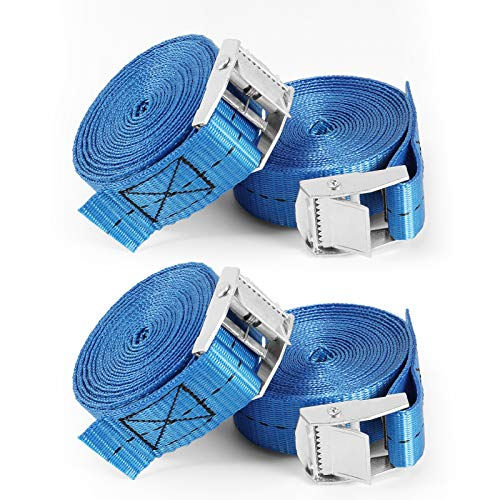 KNMY Ratchet Straps, Adjustable Cam Buckle Lashing Straps, Luggage Straps, Heavy Duty Tensioning Belt, Tie Down Strap for Cargo, Trucks, Trailer, 2.5 cm * 3 m, Blue (4Pack)