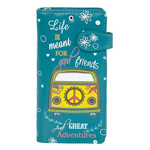 SHAGWEAR ® Portemonnaie Geldbeutel Damen Geldbörse Mädchen | Bifold Mehrfarbig Portmonee Designs: (Tolle Abenteuer/Great Adventures Teal)