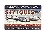 Feenomenn - Placa metálica decorativa vintage de avión Sky Tours (Coast to Coast to Coast L.A to N.Y, 20 x 30 cm)