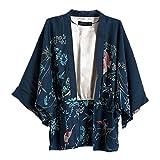 Ihomeu Japanese Style Women kimono Casual Women Blouse Coat (L), Dark Blue