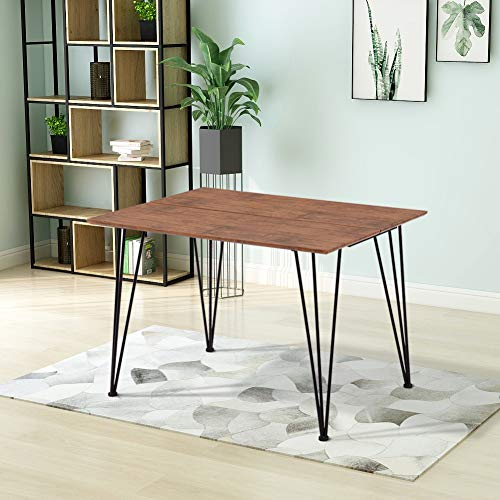 GOLDFAN Modern Dining Table Rectangle Kitchen Table Thick Wood Top and Metal Leg,Brown (Table Only)