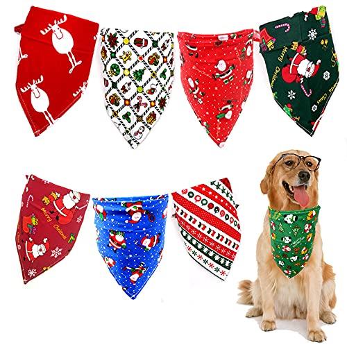 8 PCS Dog Bandanas, Fall Dog Bandana Snowman Pattern, Triangle Dog Scarf for Medium Small Sized Dog, Adjustable Washable Dog Bandana for Pets Costume Supply
