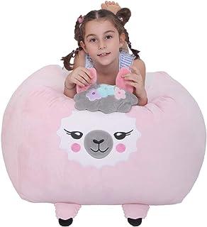 Llama Stuffie Toy Storage Bean Bag Cover, Soft Velvet Plush Bean Bag Chiar Replace Mesh Toy Hammock Orgnizer for Kids Room Decor(Pink Llama)