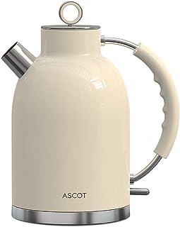 کتری برقی ، کتری برقی ASCOT کتری چای ضد زنگ آبگرمکن جوش سریع 1.7 لیتر ، 1500 وات ، بدون BPA ، بی سیم ، خاموش شدن خودکار ، محافظت در برابر جوش ، خشک ، بژ