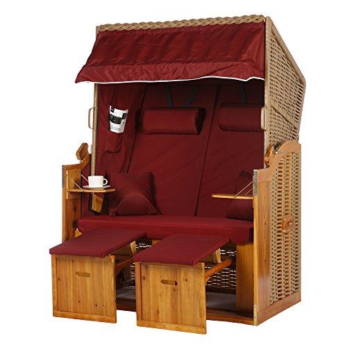 Fauteuil-cabine de plage Grömitz - Série mer Baltique - 2 places - Coloris : rouge uni - En polyrotin marron