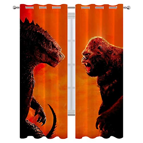 SSKJTC Cold and Heat Blocking Drapes Godzilla Vs King Kong Movies Poster Curtains for Living Room Kids Room W42xL63 Inch