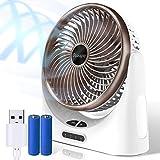 OCOOPA Ventilador de Mesa silencioso - USB con batería Recargable de 4000 mAh - Luz LED móvil - 3 Niveles - Ventilador Personal hogar, la Mesa y la Oficina (marrón)