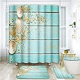 ArtSocket 4 Pcs Shower Curtain Set Starfish Seashells Wooden Nautical Sand Beach Shell Sea Blue with Non-Slip Rugs Toilet Lid Cover and Bath Mat Bathroom Decor Set 72