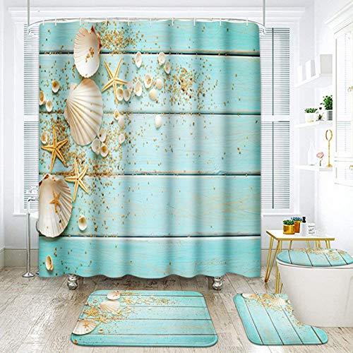 ArtSocket 4 Pcs Shower Curtain Set Starfish Seashells Wooden Nautical Sand Beach Shell Sea Blue with Non-Slip Rugs Toilet Lid Cover and Bath Mat Bathroom Decor Set 72' x 72'