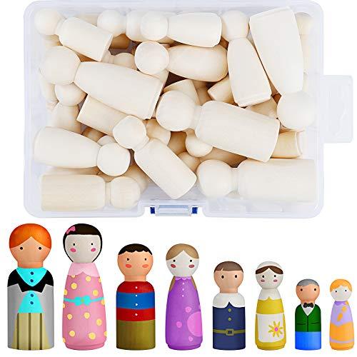 Muñecas de Madera de Clavija Encantador Muñeca Sin Terminar Decorativa para Pintar Diy Manualidad Artes Pintura 50 piezas
