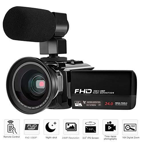 Topiky Draagbare camcorder 24MP 1080p Full HD digitale videocamera 16-voudige digitale zoom met groothoeklens en microfoonondersteuning IR-nachtzicht, Microfoon + 0,39 x groothoeklens.
