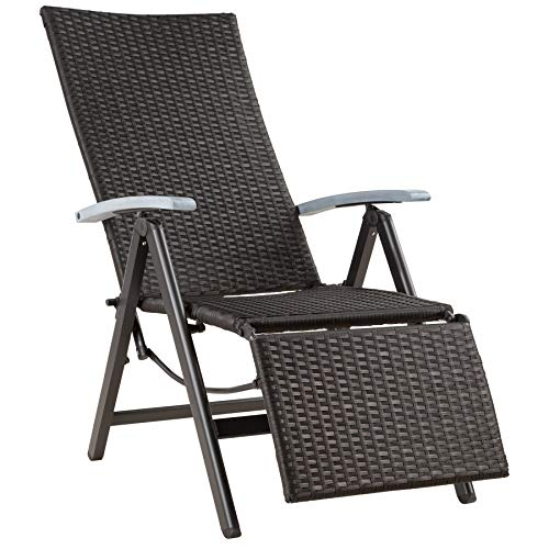 TecTake 800720 Aluminium Poly Rattan Relaxsessel mit Fußablage, klappbar &...
