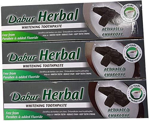 3x Dabur Herbal Activated Charcoal Toothpaste 100ml - Ayurvedische Pflege-Produkte