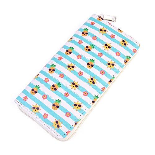 Cute Fruit Print Zip Around Wallet - Purse Card & Phone Donut, Watermelon, Tropical, Ice cream, Pineapple (Sunny Fun Apple)