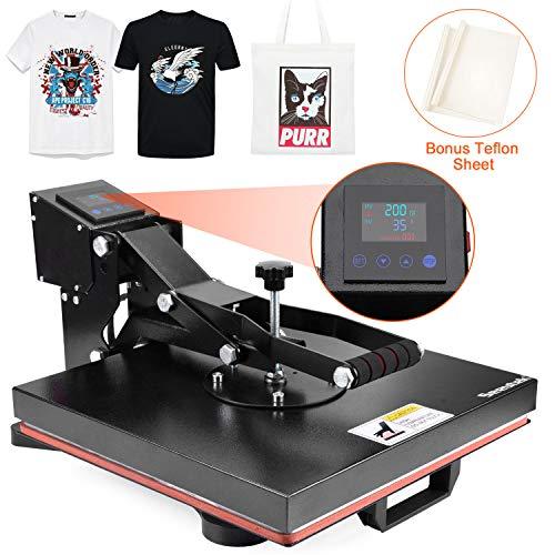 "Seeutek Power Heat Press Machine 15"" x 15"" Industrial Quality Digital Heat Transfer Printing Machine Clamshell Sublimation for T Shirts"