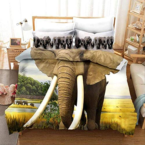 WGLG Double Bed Duvet Sets, 3D Print Elephant Mother And Child Home Textiles Animal Bedding Set Linens Duvet Cover Set And Pillowcase Eu Single Black