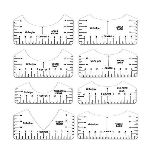 favourall Guía de reglas de la camiseta, herramienta de alineación del cuello en V para aplicar diseños de vinilo y sublimación en camisas con tabla de tamaños, herramienta de alineación HTV