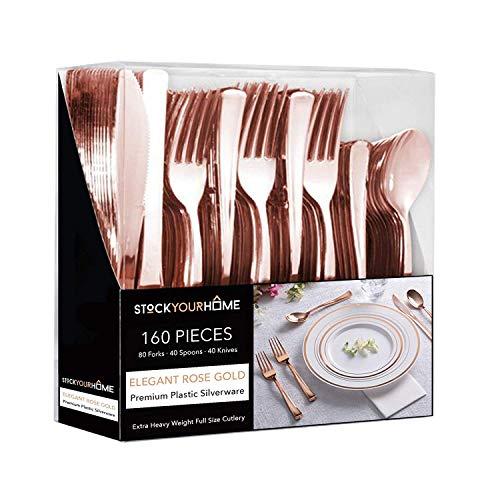 Plastic Cutlery Heavy Duty - 160 Piece Rose Gold Plastic Silverware - Rose Gold Plastic Utensils - Pink Plastic Cutlery – 80 Plastic Forks, 40 Plastic Spoons, 40 Plastic Knives