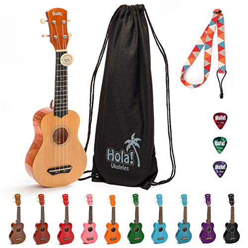 Hola! Music HM-21NT Soprano Ukulele Bundle with Canvas Tote Bag, Strap and Picks