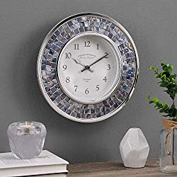 FirsTime & Co. Lagoon Blue Pearl Mosaic Clock, American Crafted, Blue Pearl, 10.25 x 1.75 x 10.25, (31155)
