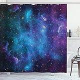 ABAKUHAUS Duschvorhang, Galaxie mit Sternen Farbvolle Fantastische Darstellung des Universums Planeten Kosmos Mehrfarbig, Wasser & Blickdicht aus Stoff mit 12 Ringen Schimmel Resistent, 175 X 200 cm