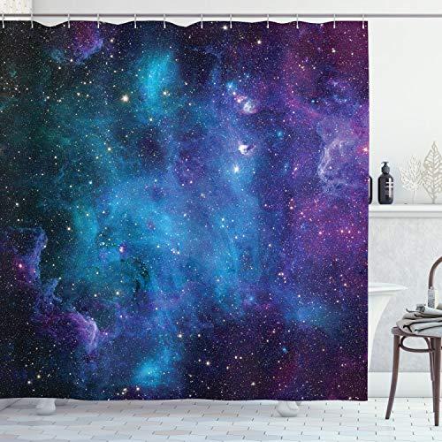 ABAKUHAUS Nebel Duschvorhang, Galaxy Sterne im Weltraum, mit 12 Ringe Set Wasserdicht Stielvoll Modern Farbfest und Schimmel Resistent, 175x180 cm, Lila