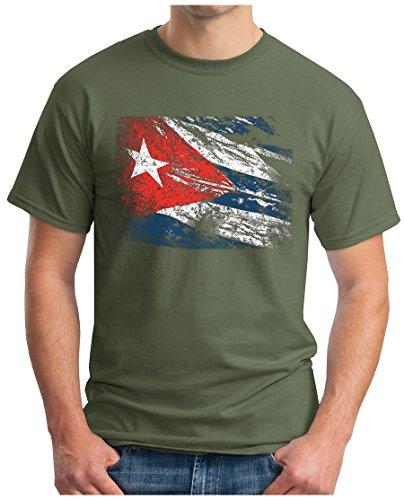 OM3® - Cuba Vintage – Camiseta Che Guevara Cuba Fidel Castro Viva La Rvolution Geek Havana, S - 4XL verde oliva XXXL