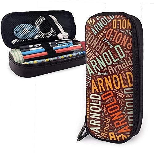 Arnold - Apellido americano Estuche de lápices de cuero de gran capacidad Bolígrafo Papelería Organizador Titular Marcador universitario Bolígrafo Cosas Bolsa de viaje