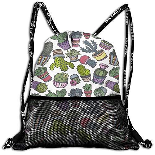 Drawstring Backpack Hand Drawn Cactus Pot Waterproof Sports Gym Bag Lightweight String Bag Cinch Sack With Mesh Front Pockets For Men Women Children Teens