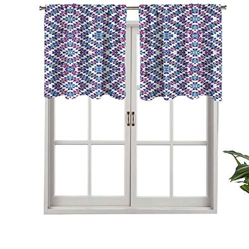 Hiiiman - Cortinas opacas para cortinas cortas, diseño de corazones con círculos ovalados, juego de 1, 127 x 45,7 cm, pequeñas cenefas para dormitorio