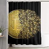Cortina de ducha con símbolo de dinero y meandro negro y dorado Bitcoin criptomoneda baño impermeable decoración-2_180x180cm