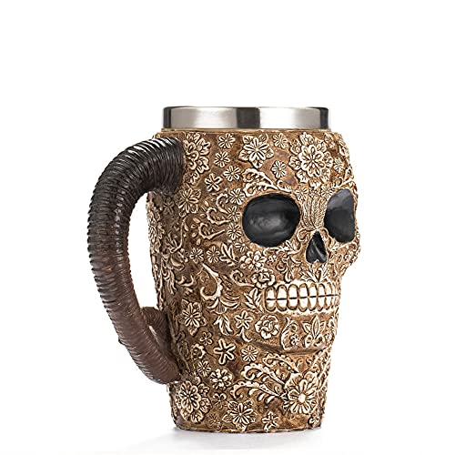 XIAN Taza de Cerveza con Forma de Calavera de Acero Inoxidable, diseño de Cabeza de Fantasma en 3D, Taza para Beber con Forma de Calavera, decoración navideña de Halloween para el hogar (450 ml)