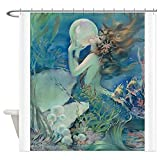 Bathroom Shower Curtain Art Deco Art Nouveau Mermaid with Pearl Pin Up Shower Curtains for Bathroom Showers and Bathtubs, 72 x 72 inches Long, Hooks Included