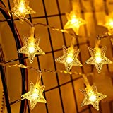 AndThere Cadena de luz para Árbol de Navidad 6 m 40 LED Luz Decortiva Guirnalda de Estrellas Luz LED Interior Exterior Tira de Luces a Pilas para Decoración Boda Halloween Cumpleaños Jardín