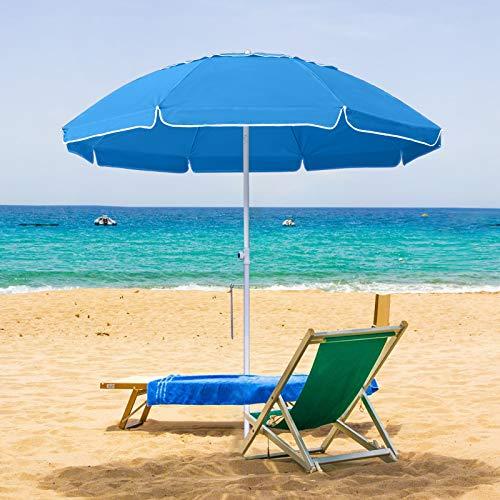 MASTERCANOPY 7FT Portable Beach Umbrella UV50+, Patio Umbrella with Sand Anchor, Tilt Steel Pole and Carry Bag for Patio Gargen Beach Outdoor (8 Ribs) (Sky Blue)