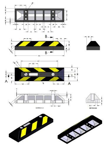 Einzel Gummi Parkplatzbegrenzung für Parkplätze und Garagen 55x15x10cm - 4
