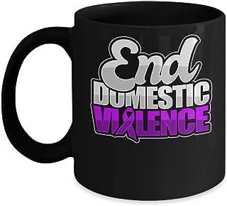 Domestic Violence Awareness Coffee Mug Abuse Support End Ribbon - Black Ceramic Cup - 15 oz