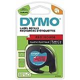 Dymo LT Kunststoff-Etiketten, Rolle 12mm x 4m, schwarze Schrift auf rotem Untergrund, Kunststoff, für LetraTag-Drucker, S0721680