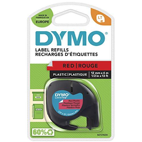 DYMO LetraTag Etikettenband Authentisch | schwarz auf rot | 12 mm x 4 m | selbstklebendes Kunststoffetiketten | für LetraTag-Beschriftungsgerät