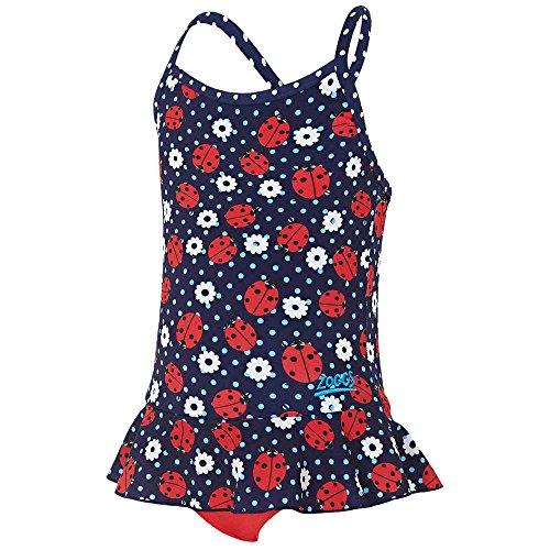 Zoggs, Costume da Bagno da Bambina con Grafica a Coccinella e Lacci Incrociati, Ragazza, Ladybug X Back Swimdress, Navy Red